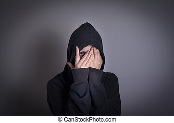 Woman covering face and crying, Depression and Mental Health Concept