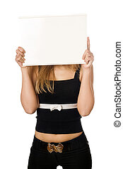 Woman covering her face with white board