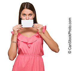 Woman Covering Her Mouth With Blank Placard
