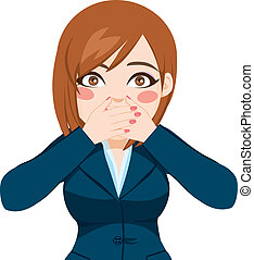 Woman Covering Mouth With Hands - Beautiful woman on suit ...