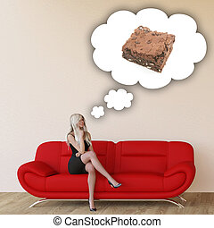 Woman Craving Brownie and Thinking About Eating Food