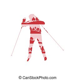 Woman cross country skiing background abstract concept made...