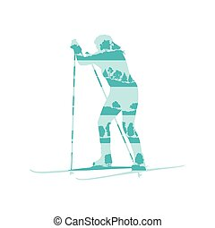 Woman cross country skiing vector background abstract...