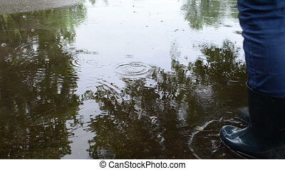 woman cross soak water - woman in waterproof gumboots boots...