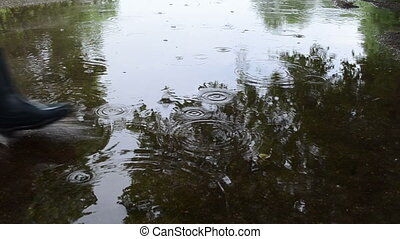 woman cross soak water - Air bubbles on pool puddle bog...