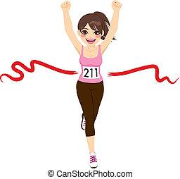 Woman Crossing Finish Line - Beautiful brunette woman ...