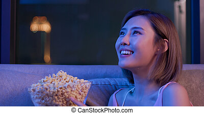 woman cry while watching movie