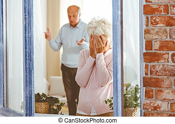 Woman crying during argument