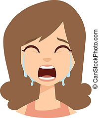 Woman crying vector illustration. - Unhappy woman crying...