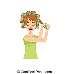 Woman Curling The Hair Home Spa Treatment Procedure