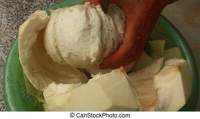 woman cut grapefruit