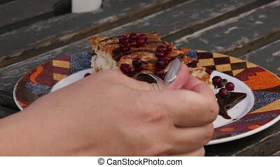 Woman cut out slice from cake in cafe. Cutting piece of cake...