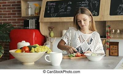 Woman Cuts Vegetables