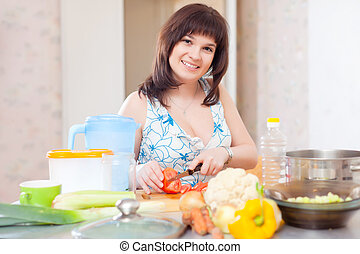 woman cutting the tomatoes in kitchen