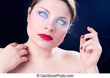 woman cyborg  - beautiful girl with eyes of cyborg