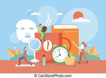 Woman daily morning routine, vector flat illustration. Wake ...