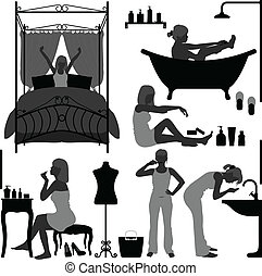 Woman Daily Routine Morning - A set of woman daily routine...
