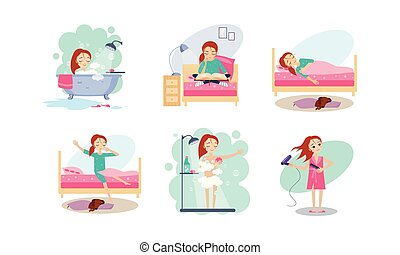 Woman daily routine, night and morning time, girl reading before bed, sleeping, waking up, taking a bath, blowing dry hair vector Illustration on a white background