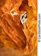 Woman Dance Fire, Fashion Girl Orange Dress Dancing Fabric Flowing