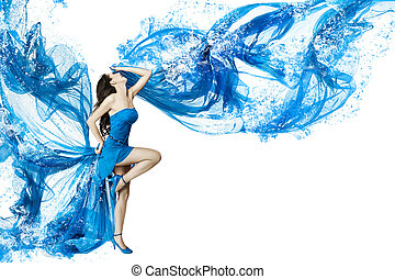 Woman dance in blue water dress dissolving in splash. Isolated white.
