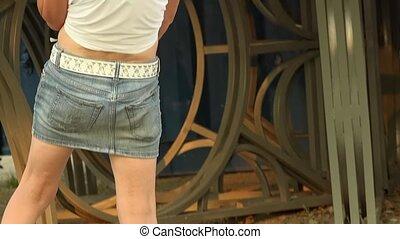 Woman dance in short skirt - Woman dance in a short skirt