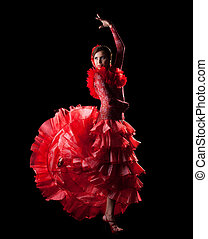 woman dance spain flamenco in red oriental costume