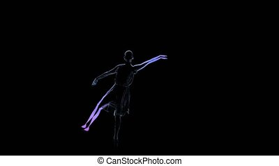 Woman dancer, graceful ballerina posing in slow motion. Computer graphics