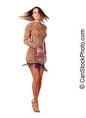 woman dancer - beautiful brunet woman dancer on white...