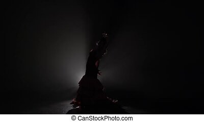 Woman dances flowing movements with her hands. Light from behind. Smoke background. Slow motion. Silhouette