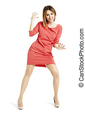 Woman dancing against white background