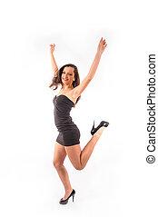 woman dancing and junping