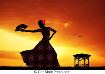 Woman dancing flamenco - Illustration of flamenco dancer