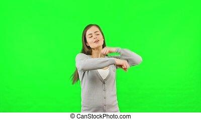 Woman Dancing Green Chroma Key Screen Background