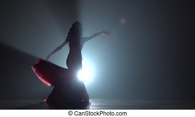 Woman dancing in dress on black smoke background. Sihouette....