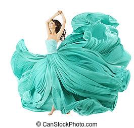 Woman Dancing In Fashion Dress, Fabric Cloth Waving On Wind...