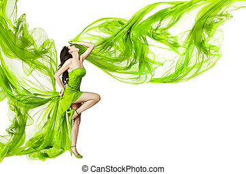 Woman dancing in green dress, beautiful fluttering and...