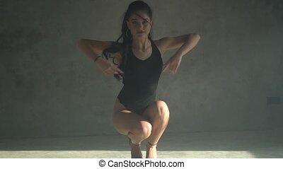 Woman dancing in the studio