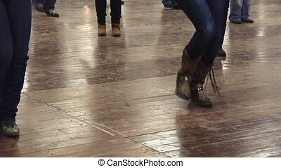 Woman dancing line dance country music cowboy - Woman...