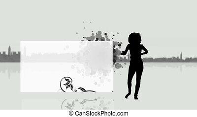 Woman dancing next to a screen