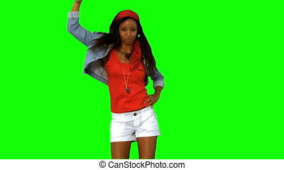 Woman dancing on green screen