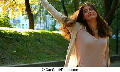 Woman dancing sunset autumn