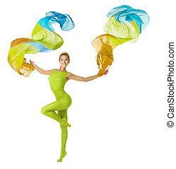 Woman dancing with flying colorful fabric, white background...