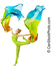 Woman dancing with flying colorful fabric over white - Woman...