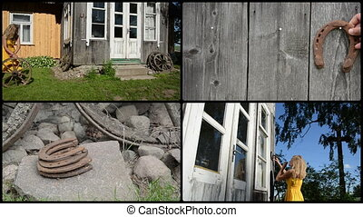 Woman decorate house with retro wheel and horse shoe. collage