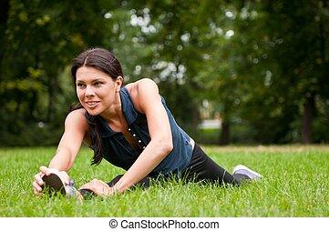 woman, dehnt, park, führt, sport, vorher