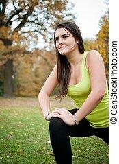 woman, dehnt, vorher, führt, jogging