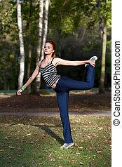 woman, dehnt, vorher, muskeln, jogging