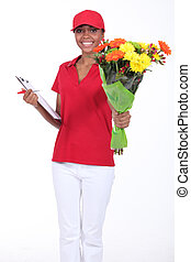 Woman delivering flowers