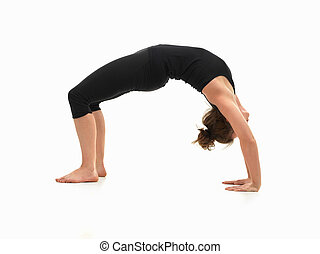 woman demonstrating yoga pose - caucasian woman on the floor...