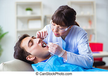 Woman dentist doctor with male patient in hospital